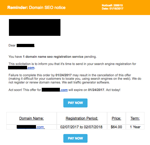 Domain SEO Renewal Notice